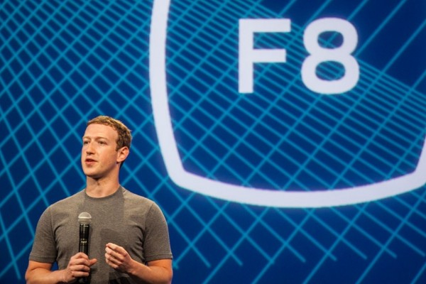 Mark Zuckerberg making announcements at Facebook F8 Conference
