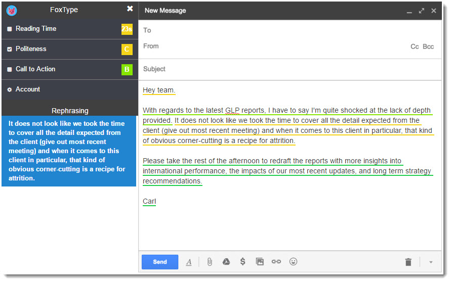 FoxType Gmail extension to analyze email politeness
