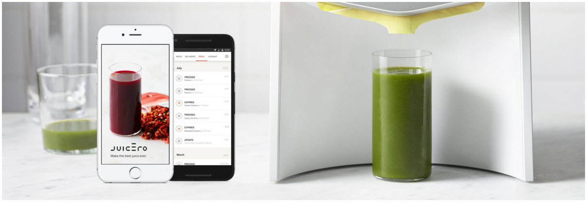 Juicero app and machine making an expensive green juice