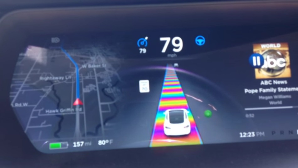 Tesla Easter egg showing Mario Kart rainbow on screen
