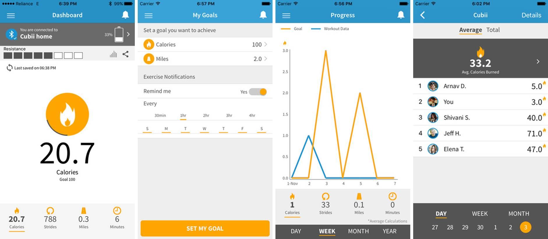 Cubii fitness app screenshots tracking eliptical use