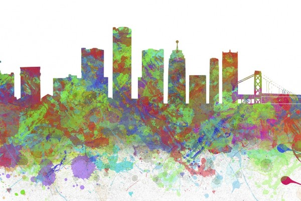 skyline of Detroit from Startup Week