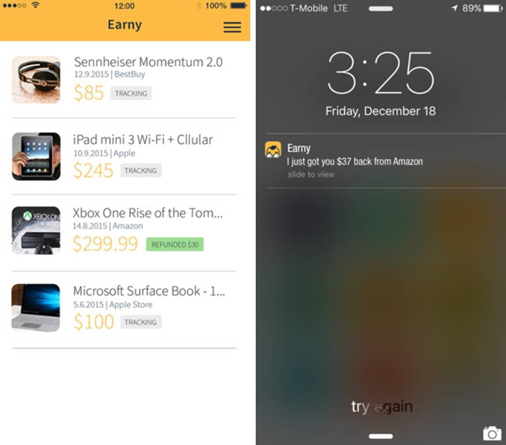Earny price protection app screenshots