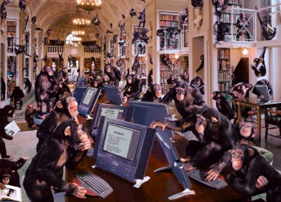 monkeys typing biased news on Facebook