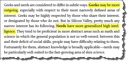 definition of geeks vs nerds in Silicon Valley Speak