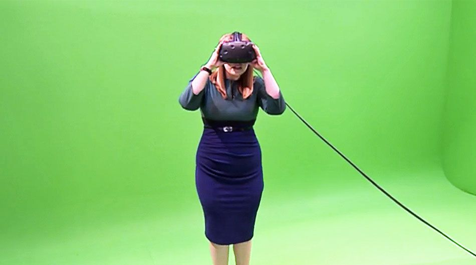 juror with virtual reality headset visiting the scence of a crime