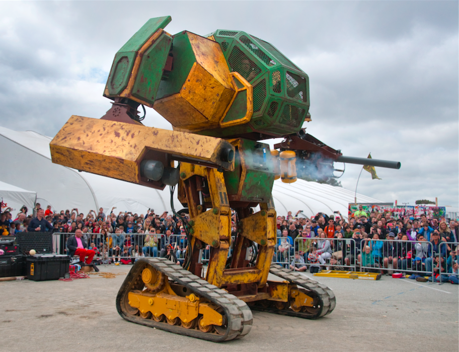 giant fighting robot getting ready for duel in new league
