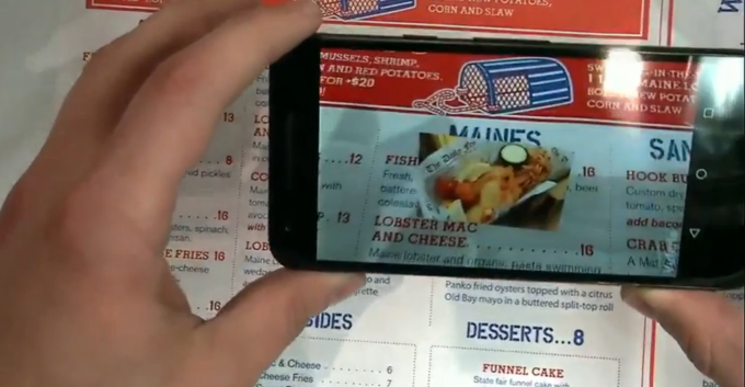 image recognition and augmented reality app MenuMe