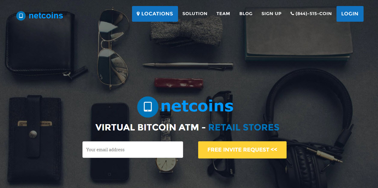 website of Netcoins virtual BitCoin ATM