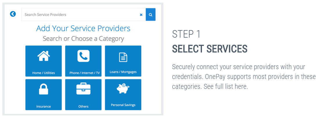 adding service providers in OnePay online bill payment app