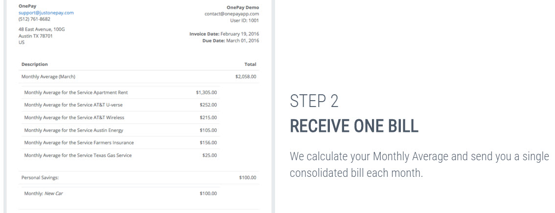 consolidated bill from OnePay online bill payment app