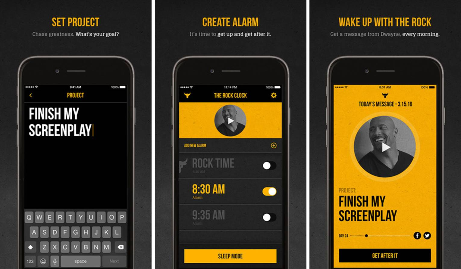 "Dwayne ""The Rock"" Johnson alarm clock app screenshots"