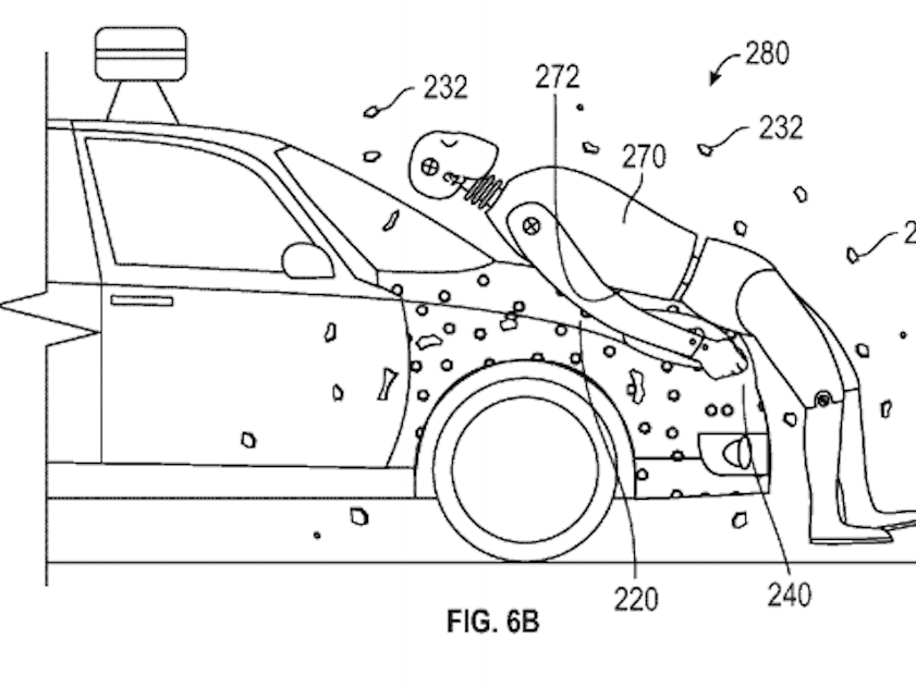 Google patent for sticky car hood to hold pedestrian after accident with self-driving car
