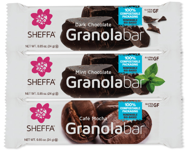 compostable food packaging holding Sheffa granola bars