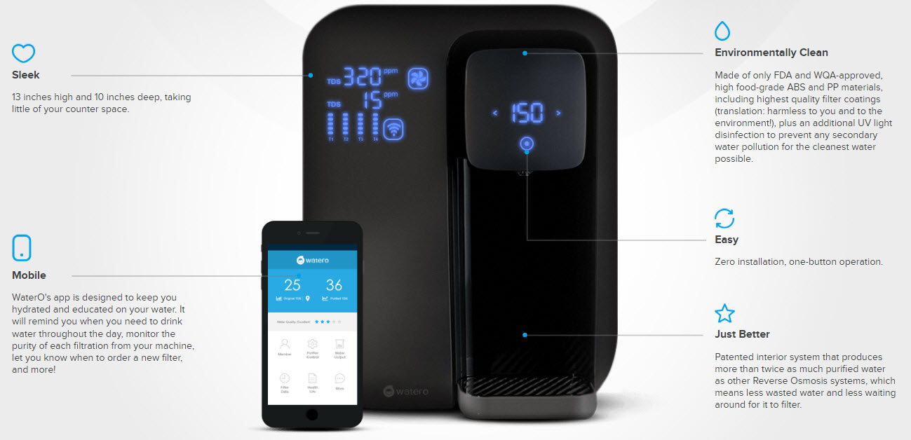 WaterO filter and app for clean drinking water