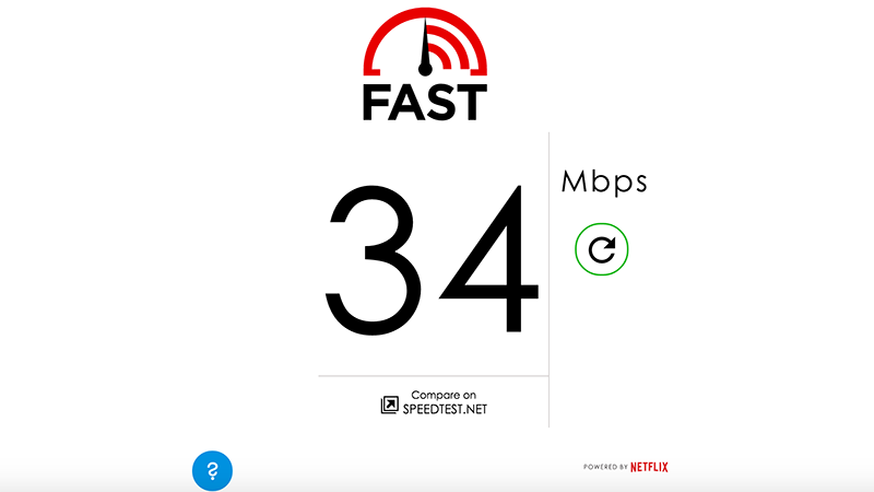 Netflix site Fast.com to measure internet speed