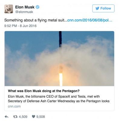 Elon Musks Secret Pentagon Visit Was About a Flying Metal Suit
