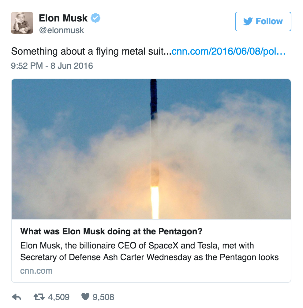 Elon Musk's tweet about flying metal suit as topic of secret Pentagon visit