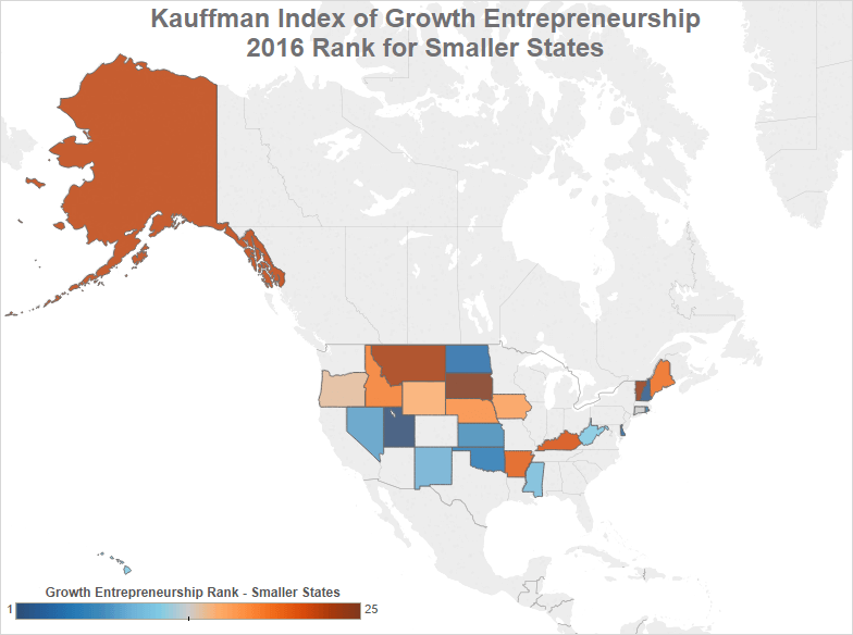 smaller states with most startup growth and entrepreneurship according to the Kauffman Index