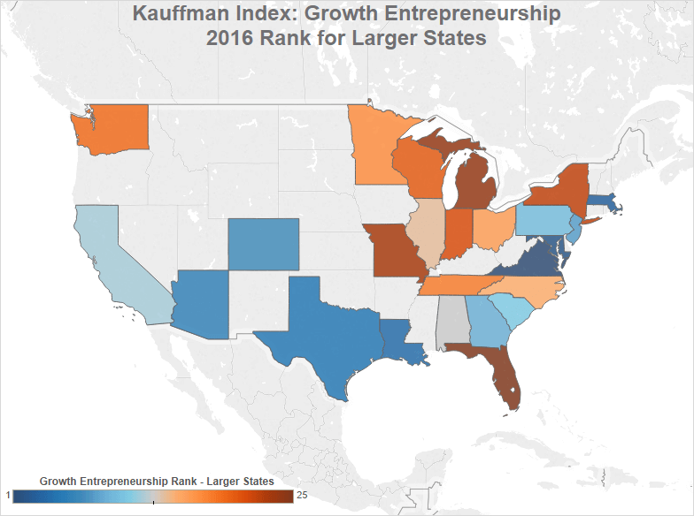 larger states with most startup growth and entrepreneurship according to the Kauffman Index