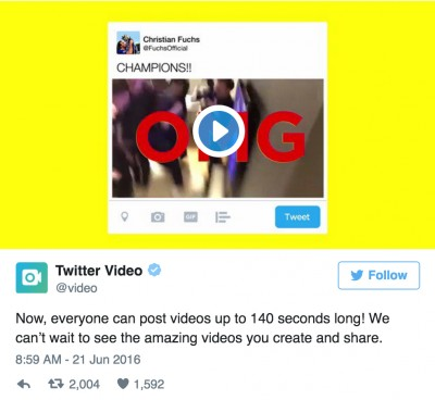 Twitter supports  second videos coming soon to Vine