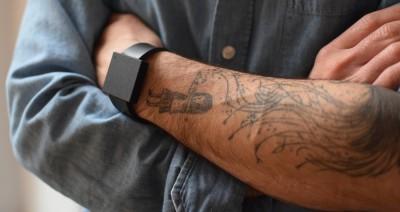 wearing a subwoofer bracelet by Basslet