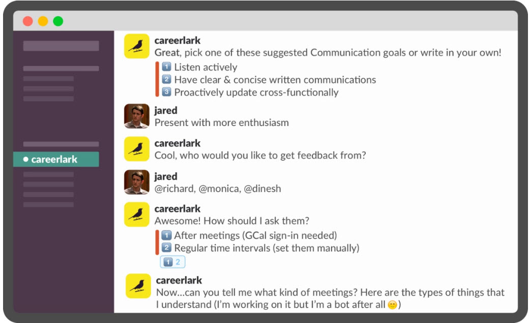 CareerLark chatbot for job feedback screenshot