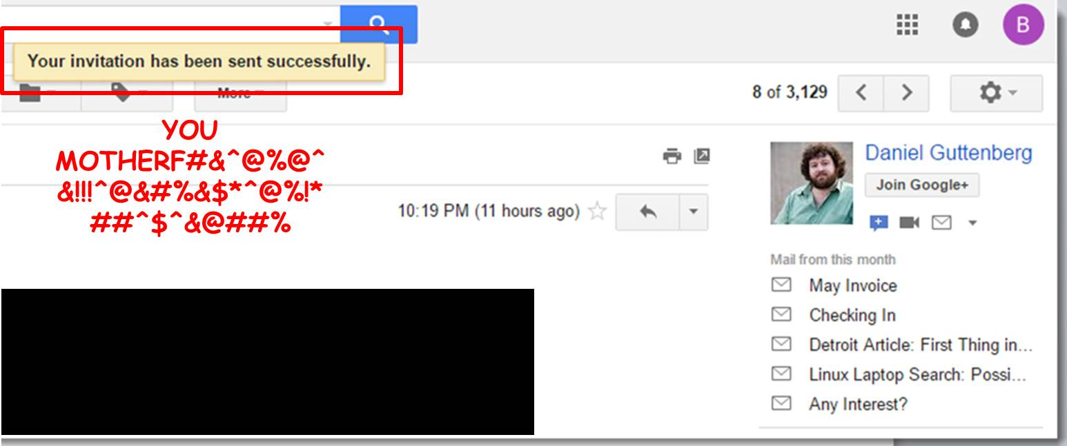 horrible Gmail chat UX that sends an invitation