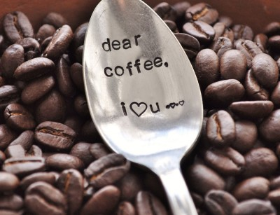 spoon with Dear Coffee, I love you imprinted on it