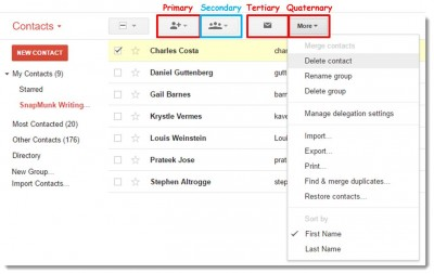 gmail contact list contact selected