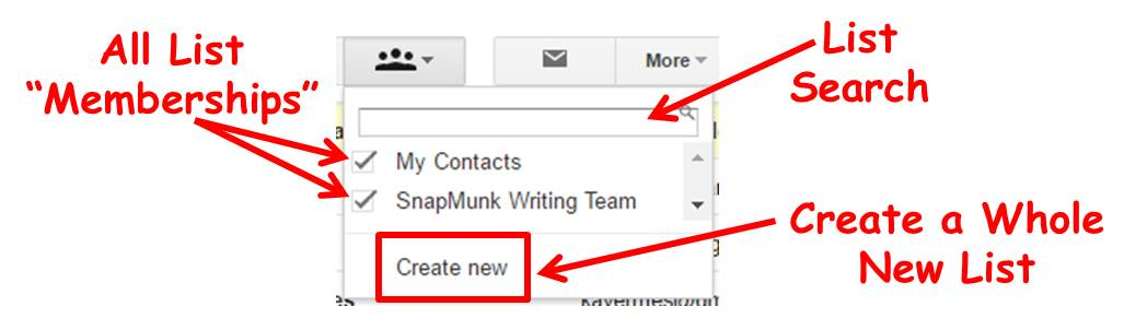 strange options in Gmail manage contact lists