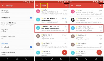 gmail mobile inbox