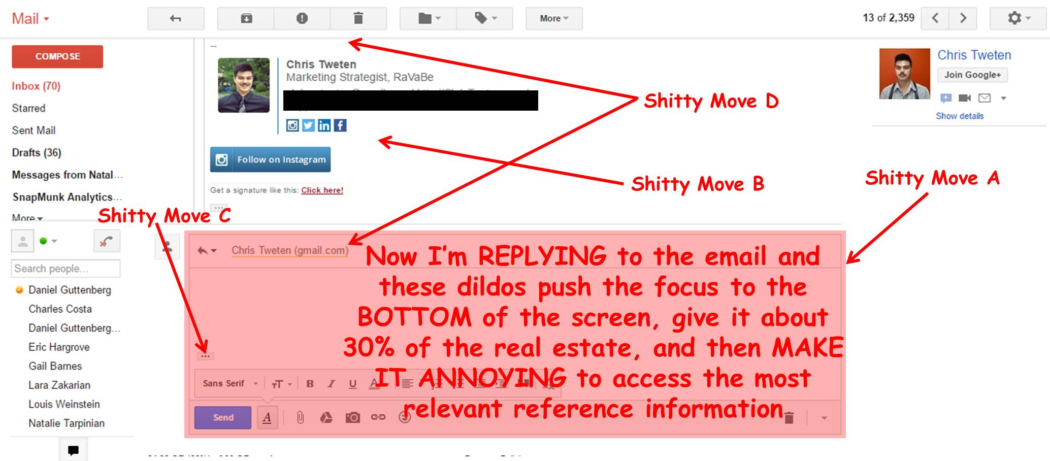Gmail UX for replying to an email