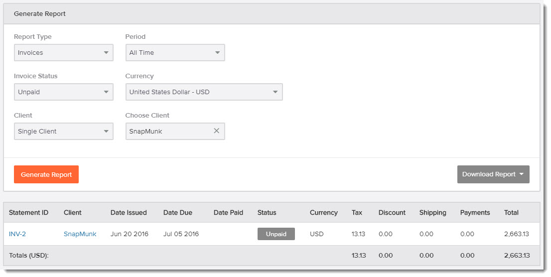 freelancer billing dashboard in Invoicely invoicing software