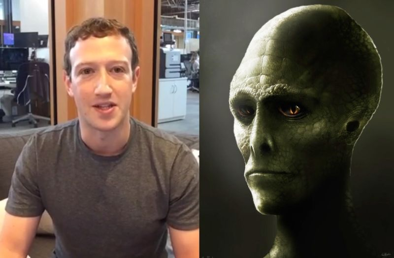 Mark Zuckerberg and secret lizard man