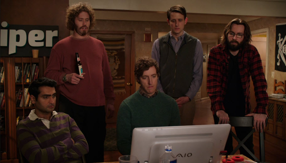 HBO's Silicon Valley cast looking glum in Season 3, Episode 9