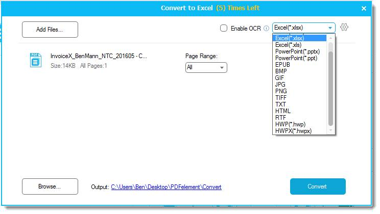 converting PDF to any format with Wondershare PDFelement