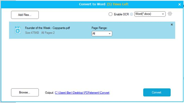 converting PDF to Word with Wondershare PDFelement