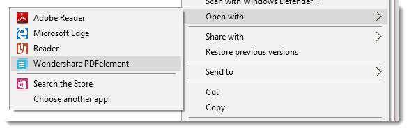 Wondershare PDFelement PDF editor windows menu