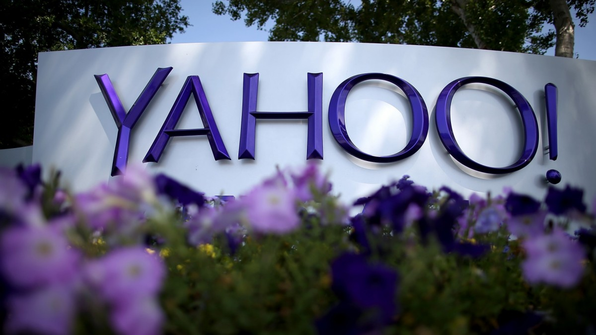 Yahoo sign, which may be acquired by Verizon