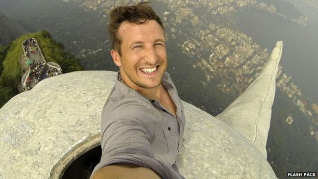man taking crazy selfie near death