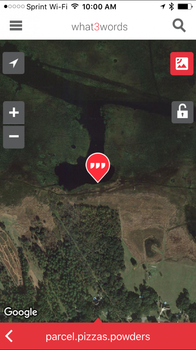 new address system for place with no address via what3words