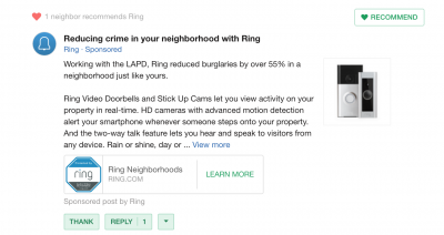 ring doorbell video camera advertisement on nextdoor the neighborhood social network