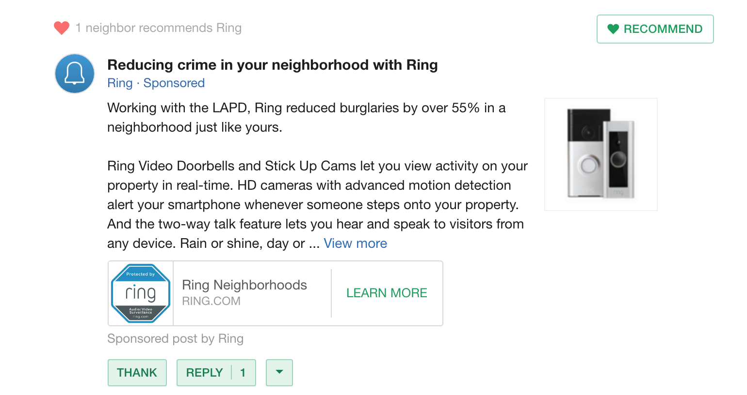 paid ad on Nextdoor neighborhood social network for Ring doorbell video camera