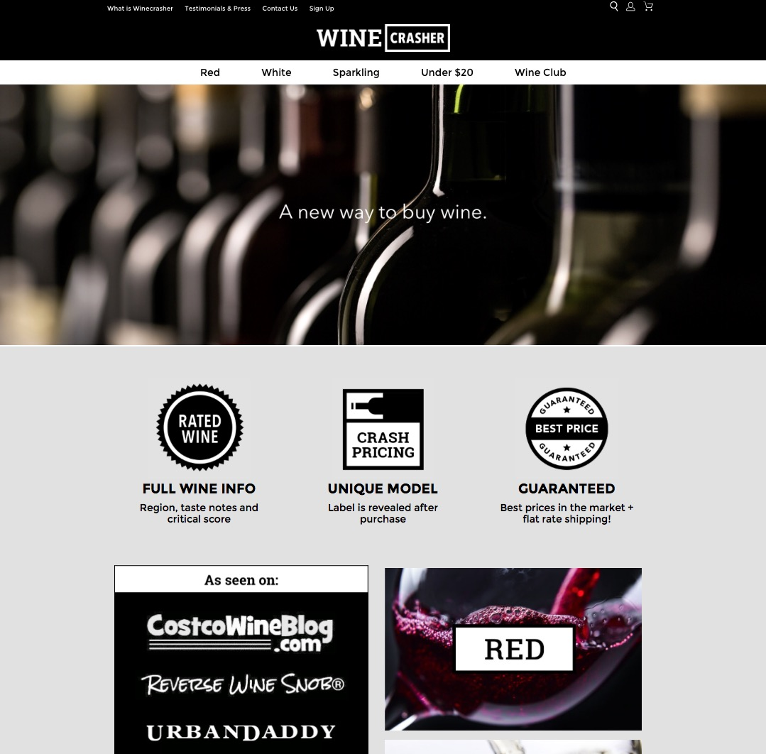 Winecrasher website, created by SnapMunk's founder of the week, Niv Nissenson