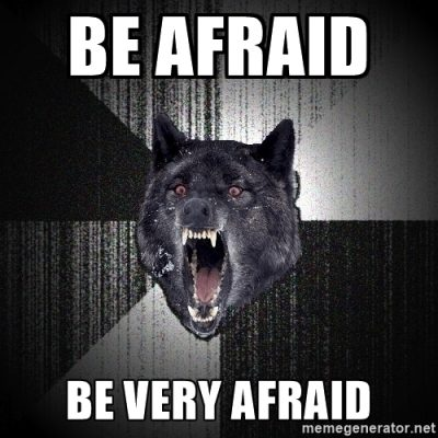 scary courage wolf says be afraid be very afraid