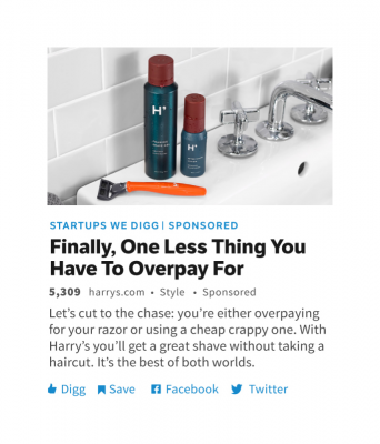 digg sponsored post Harrys shave snapmunk