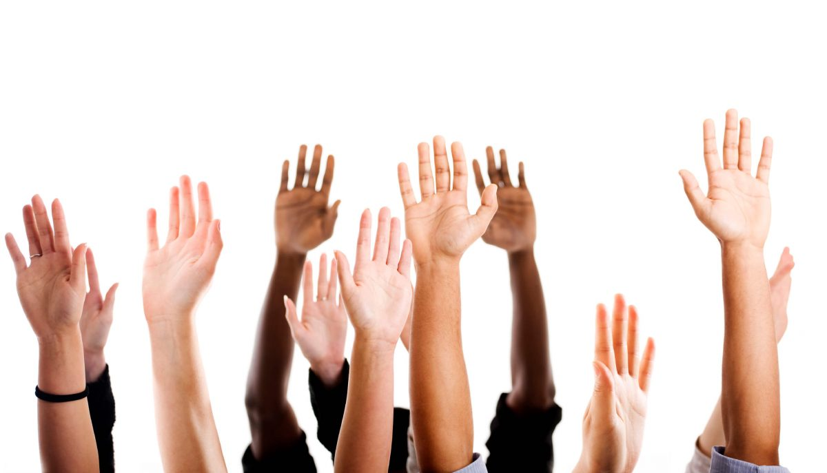 marketing to customer demand represented by raised hands