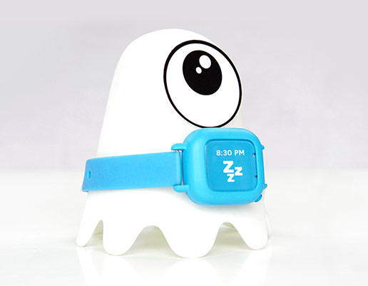 Octopus kids smartwatch on nightlight charging station