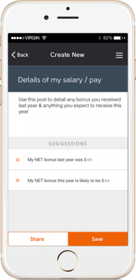 amicable divorce app screenshot income